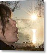 Woman Exhalation Metal Print