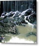 Woman Flyfishing Below Waterfall Metal Print