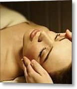 Woman Having A Facial Massage Metal Print