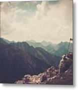 Woman Hiker On A Top Of A Mountain Metal Print