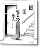 Woman Holding Lamp Stands At Dark Bedroom Doorway Metal Print