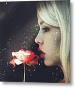 Woman Holding Rose Behind A Rainy Window Metal Print