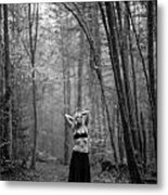 Woman In A Forrest Metal Print