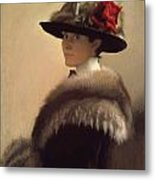 Woman In A Fur Hat Metal Print by Gretchen Woodman Rogers