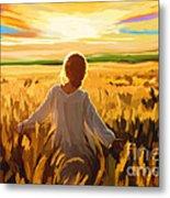 Woman In A Wheat Field Metal Print