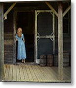 Woman In Cabin Doorway Metal Print