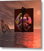 Woman In Contemplation Nude Metal Print