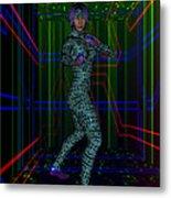 Woman In Cyber Passage Metal Print