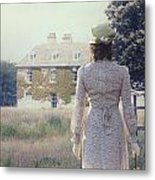 Woman In Front Of A Manor Metal Print by Joana Kruse