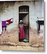 Woman In Front Of The House Democratic Metal Print