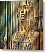 Woman In Glass Metal Print