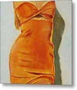 Woman In Orange Dress Metal Print