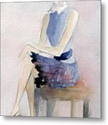 Woman In Plaid Skirt And Big Sunglasses Fashion Illustration Art Print Metal Print by Beverly Brown