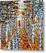 Woman In Red In Fall Rainy Day Metal Print