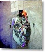Woman In Silver Mask Metal Print