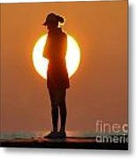 Woman In Sunrise Metal Print