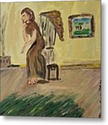 Woman In The Art Gallery Metal Print