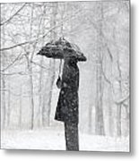 Woman In The Forest With An Umbrella Metal Print