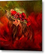 Woman In The Poppy Hat Metal Print