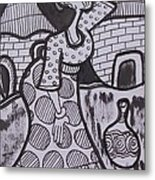 Woman Is Coming From The Farm With Firewood On Her Head Metal Print