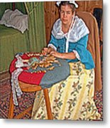 Woman Making Lace In Louisbourg Living History Museum-1744-ns Metal Print