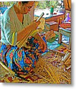 Woman Making Umbrella Ribs At Borsang Umbrella Factory In Chiang Mai-thailand Metal Print