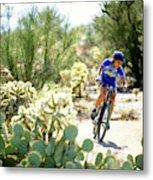 Woman Mountain Biking In Arizona Metal Print