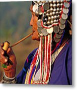 Akha Hill Tribe Woman  Thailand Metal Print