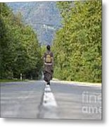 Woman On A Road Metal Print