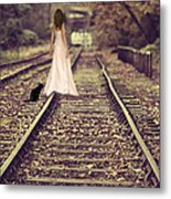 Woman On Railway Line Metal Print