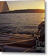 Woman On Sailboat Sunset Metal Print
