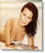 Woman On The Beach In Sunset Light Metal Print