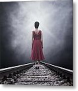 Woman On Tracks Metal Print