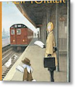 Woman On Train Platform Looking At Easter Bunny Metal Print
