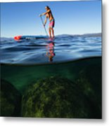 Woman Paddleboarding In The Lake, Lake Metal Print