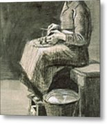 Woman Peeling Potatoes, 1882 Metal Print