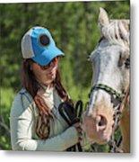 Woman Pets A Horse Metal Print