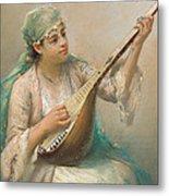 Woman Playing A String Instrument Metal Print