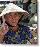 Woman Portrait At Market In Hue Metal Print by Sami Sarkis