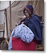 Woman Reenactor Sewing In A Civil War Camp Metal Print