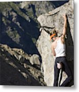 Woman Rock Climbing, India Metal Print