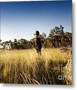 Woman Running Through Field Metal Print