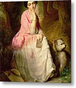 Woman Seated In A Forest Glade Metal Print