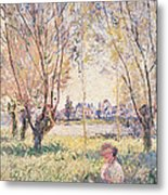 Woman Seated Under The Willows Metal Print