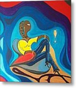 Woman Sitting In Chair Surrounded By Female Spirits Metal Print