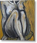 Woman Sitting On Round Chair 2- Female Nude  Metal Print