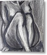 Woman Sitting On Round Chair - Female Nude Metal Print