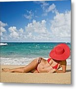 Woman Sitting On The Beach Metal Print