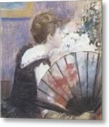 Woman Smelling Flowers Metal Print