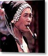 Woman Smokes Opium Pipe Metal Print